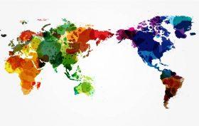 Mappa del mondo in acquarello