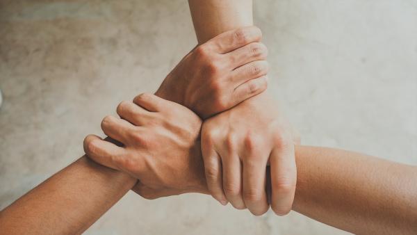 mani intrecciate, lavorare insieme